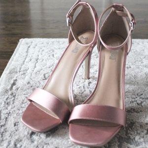 Brash Pink Satin Heels with Ankle Straps